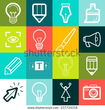 Vector graphic design symbols and signs - creative icons - stock vector