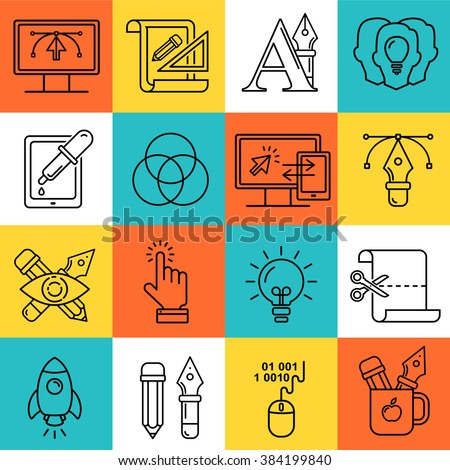 Vector graphic designer icons set in linear style. Designers tools and objects.