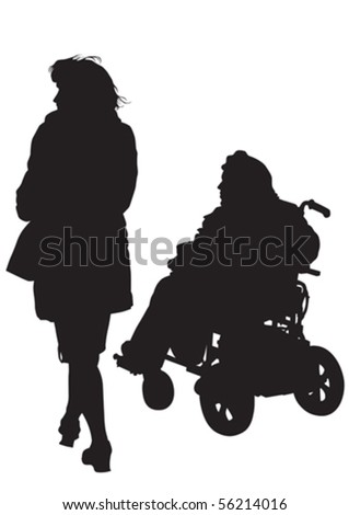 Vector graphic disabled and women on a walk. Silhouettes of people - stock vector