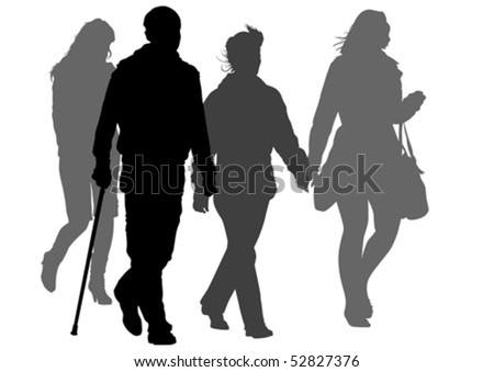 Vector graphic disabled and women on a walk. Silhouettes on a white background - stock vector