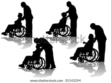 Vector graphic disabled in a wheel chair. Silhouettes on a white background - stock vector