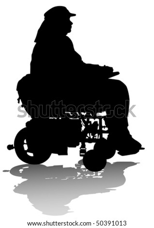 Vector graphic disabled in a wheelchair - stock vector
