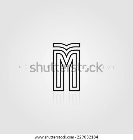 Vector graphic elegant and creative line alphabet / Letter M / symbol - stock vector