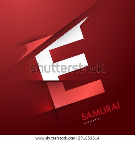 Vector graphic elegant and unique sliced alphabet - Letter E - stock vector