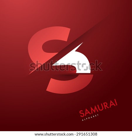 Vector graphic elegant and unique sliced alphabet - Letter S - stock vector