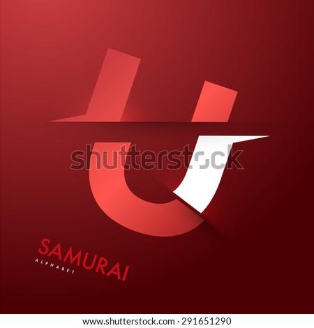 Vector graphic elegant and unique sliced alphabet - Letter U - stock vector