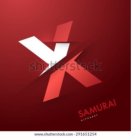 Vector graphic elegant and unique sliced alphabet - Letter X - stock vector