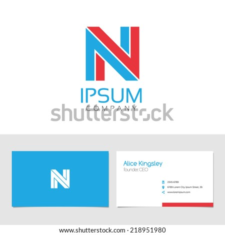 Vector graphic elegant impossible alphabet symbol / identity / business card in two colors / Letter N - stock vector