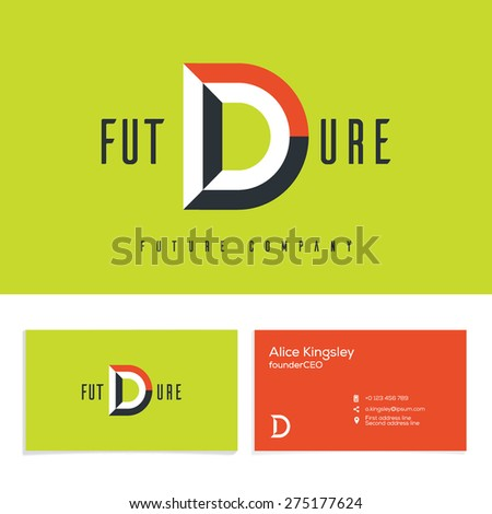 Vector graphic elegant impossible alphabet symbol. Identity, business card in two colors, Letter D. - stock vector