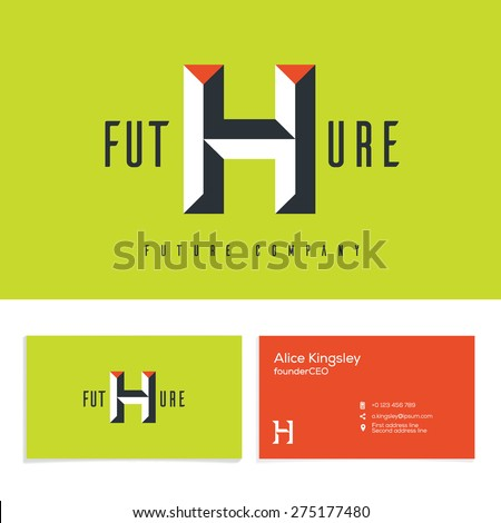 Vector graphic elegant impossible alphabet symbol, Identity, business card in two colors, Letter H. - stock vector