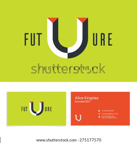 Vector graphic elegant impossible alphabet symbol. Identity, business card in two colors, Letter U. - stock vector