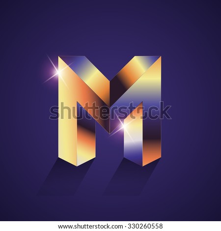 Vector graphic elegant metallic  font / symbol / alphabet / Letter M - stock vector