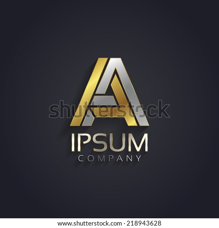Vector graphic elegant silver and gold impossible font / symbol / alphabet / Letter A - stock vector