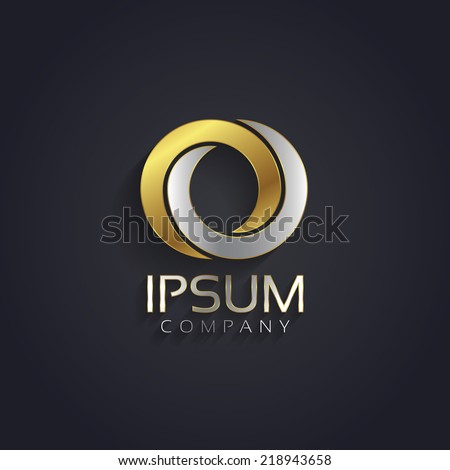 Vector graphic elegant silver and gold impossible font / symbol / alphabet / Letter O - stock vector