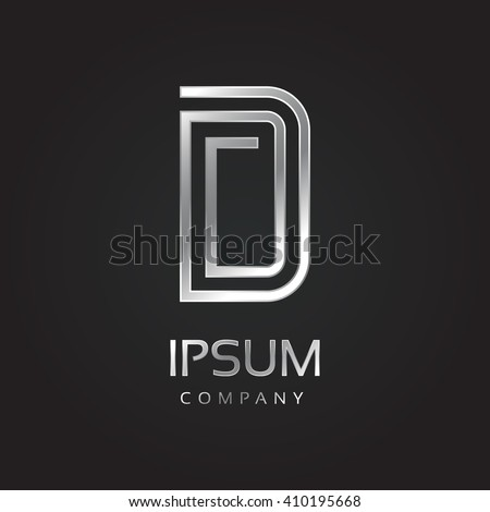 Vector graphic elegant silver font with sample text / symbol / alphabet / Letter D - stock vector