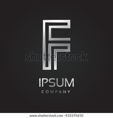 Vector graphic elegant silver font with sample text / symbol / alphabet / Letter F - stock vector