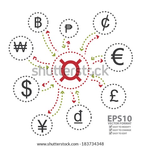 Vector: Graphic for Banking, Money Exchange or Currency Converter Business Isolated on White Background - stock vector