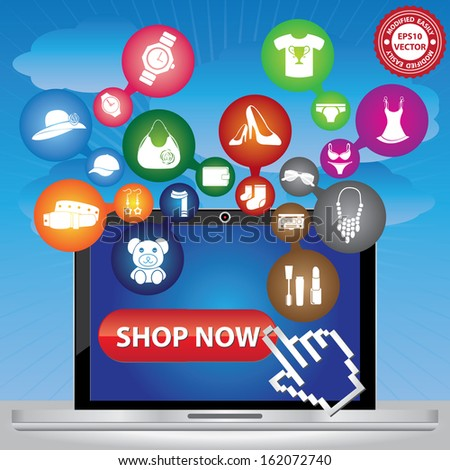 Vector : Graphic For Internet and Online Business Present By Computer Laptop With Group of Colorful Fashion Icon in Blue Sky Background - stock vector