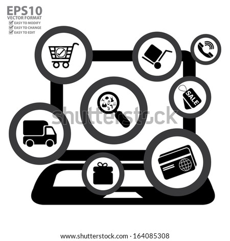 Vector : Graphic For Internet and Online Business Present By Group of Black E-Commerce Icon With Computer Laptop Isolated on White Background - stock vector