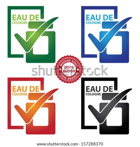 Vector : Graphic for Marketing Campaign, Product Information or Product Ingredient Concept Present By Colorful Glossy Style Eau De Cologne Bottle Sign With Check Mark Isolated on White Background  - stock vector