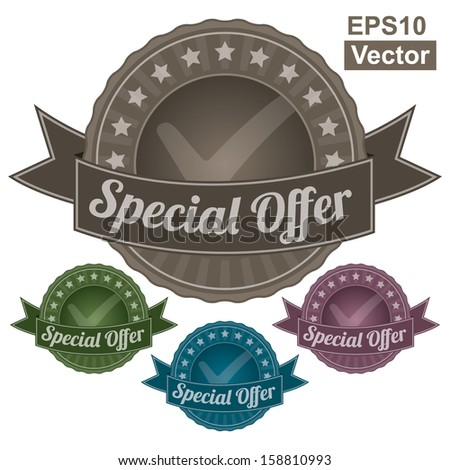 Vector : Graphic For Marketing Campaign, Promotion or Sale Event Present By Colorful Vintage Style Special Offer Icon or Badge Isolated on White Background