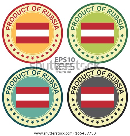 Vector : Graphic for Product Information Concept Present By Colorful Vintage Style Product of Russia Stamp, Sticker, Label or Icon With Russia Flag Sign Isolated on White Background