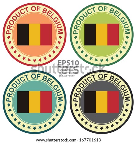 Vector : Graphic for Product Information Concept Present By Colorful Vintage Style Product of Belgium Stamp, Sticker, Label or Icon With Belgium Flag Sign Isolated on White Background
