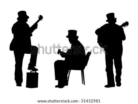 vector graphic format eps. The image of jazz guitarist. Easily edited