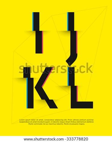 Vector graphic futuristic glitch font - stock vector