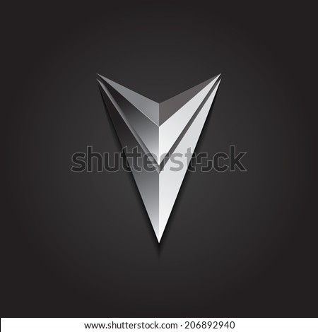 Vector graphic futuristic silver 3D arrow symbol - stock vector