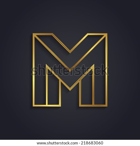 Vector graphic gold alphabet / impossible letter symbol / Letter M - stock vector