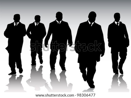 Vector graphic group of businessmen on background of crowd