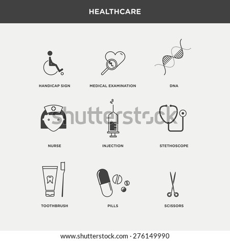 Vector graphic icon sticker set of medical supplies and health care - stock vector