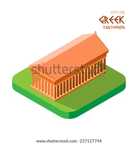 Vector graphic  illustration flat isometric design of Athens Parthenon ancient Temple - stock vector