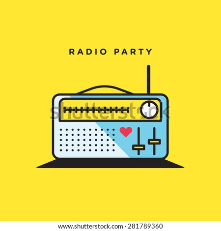 Vector graphic illustration of an old radio in retro style in vibrant colors - stock vector