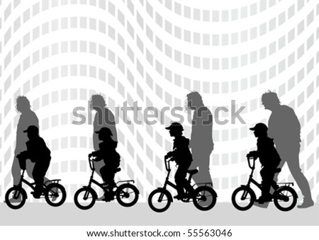 Vector graphic kids on a bicycle. Silhouette of people