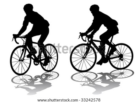 Vector graphic male on a bicycle. Silhouette on white background