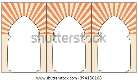 Vector graphic mosque arcs. Morocco style