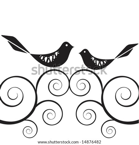 Vector graphic of love birds in black and white - stock vector