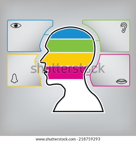 Vector graphic of male head with eye, nose, ear and mouth graphic icon. Conceptual graphic idea.
