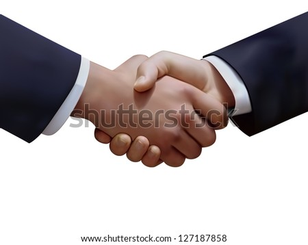 Vector graphic of the handshake of two businessmen - stock vector