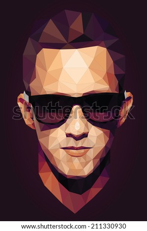 Vector graphic polygon face of cool teen in sunglasses - stock vector
