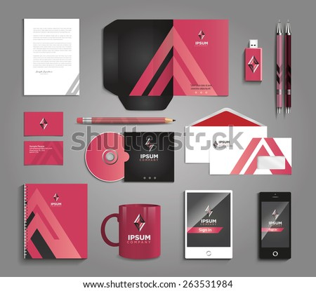 Vector graphic professional identity for your company, with useful elements in vibrant colors - stock vector