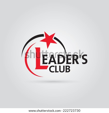 Vector graphic red and black symbol for company leaders with star shape - stock vector