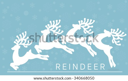 vector graphic reindeer on snowflake cool background and classic merry christmas text