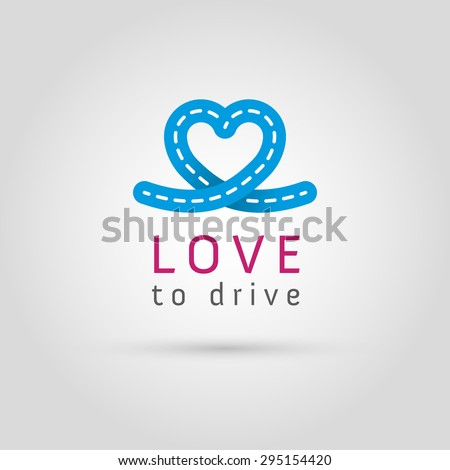 Vector graphic road / heart symbol about driving with sample text for your company - stock vector