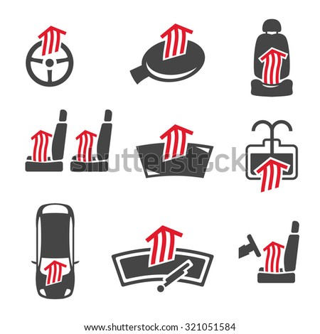 Vector graphic set of car heating pack isolated icons. Editable illustration. Automotive collection in dark grey and red colors. - stock vector