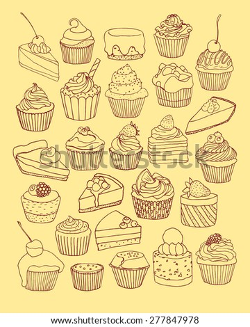Vector graphic set of hand drawn desserts. Beautiful design elements for pastry shops, coffee houses, cafes or any other business related to the catering. - stock vector