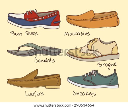 Vector graphic set of hand drawn summer men's shoes. Beautiful illustration of stylish accessories. Cool design elements for any business related to the fashion industry.