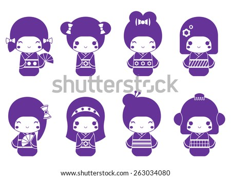 Vector graphic set of Japanese kokeshi dolls - stock vector